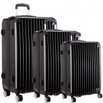L1601L BK -  3sizes Set Travel Hard Shell 4 Wheel Spinner Suitcase Luggage Black