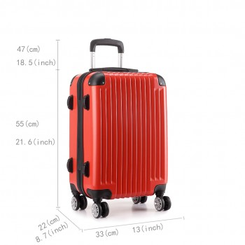 L1601L RD - 3sizes Set Travel Hard Shell 4 Wheel Spinner Suitcase Luggage Red