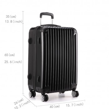 L1601L BK -  3sizes Set Travel Hard Shell 4 Wheel Spinner Suitcase Luggage Black