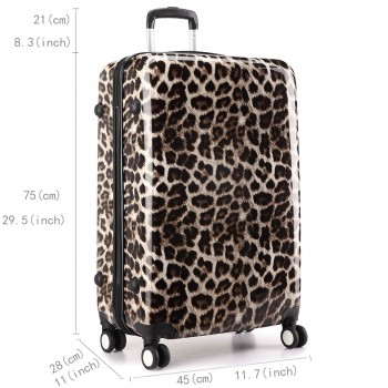 L1212L - Leopard Print 3sizes Set Travel Hard Shell 4 Wheel Spinner Suitcase Luggage