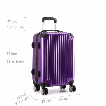 L1601L PE -  3sizes Set Travel Hard Shell 4 Wheel Spinner Suitcase Luggage Purple