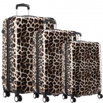 L1212L - Leopard Print 3 Sizes Set Travel Hard Shell 4 Wheel Spinner Suitcase Luggage