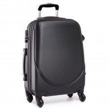 "L1602L - 20"" Hard Shell 4 Wheel Spinner Suitcase ABS Cabin Luggage Black"