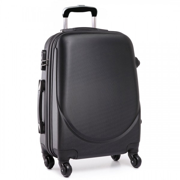 """L1602L - 20"""" Hard Shell 4 Wheel Spinner Suitcase ABS Cabin Luggage Black"""