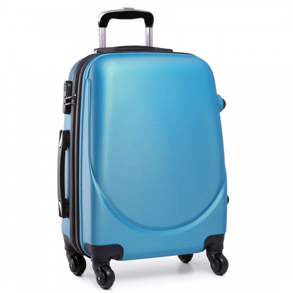 """L1602L -  20"""" Hard Shell 4 Wheel Spinner Suitcase ABS Cabin Luggage Navy"""