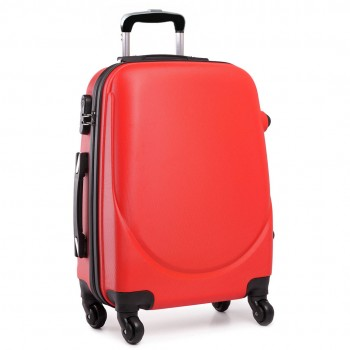 """L1602L -  20"""" Hard Shell 4 Wheel Spinner Suitcase ABS Cabin Luggage Red"""