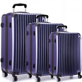 L1601L NY -  3sizes Set Travel Hard Shell 4 Wheel Spinner Suitcase Luggage navy
