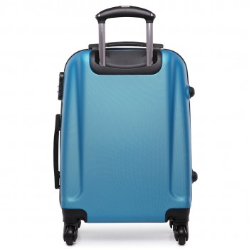 "L1602L -  20"" Hard Shell 4 Wheel Spinner Suitcase ABS Cabin Luggage Navy"