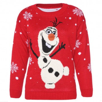 Mens Christmas Xmas Olaf Frozen Jumper C3001 Red