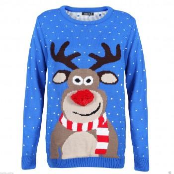 Mens Christmas Xmas Rudolph JumperC3002 Blue