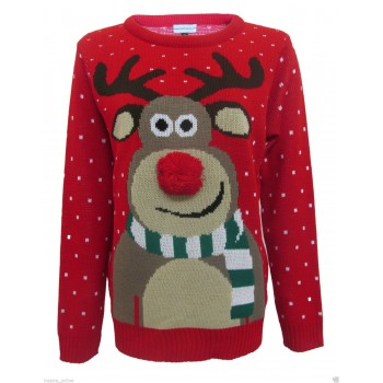 Mens Christmas Xmas Rudolph Jumper C3002 Red