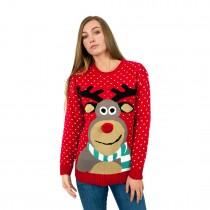 C3002 RD - Unisex Christmas Jumper With Fluffy Nose Rudolph Red