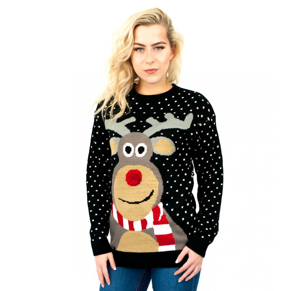 C3002 Bk Unisex Christmas Jumper With Fluffy Nose Rudolph Black