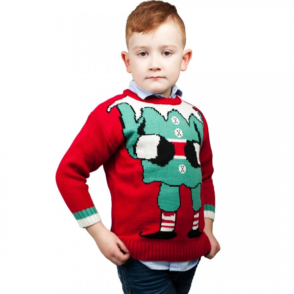 Kids Extra Thick Christmas Xmas Jumper C3202 Red