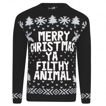 Mens Christmas Knitted Extra Thick Jumper C3005 Black