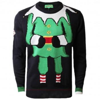 Mens Christmas Extra Thick Eif Jumper C3006 Black