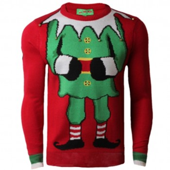 Mens Christmas Extra Thick Eif Jumper C3006 Red