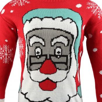 Mens Extra Thick Christmas Xmas SantaClaus Jumper C3007 Red