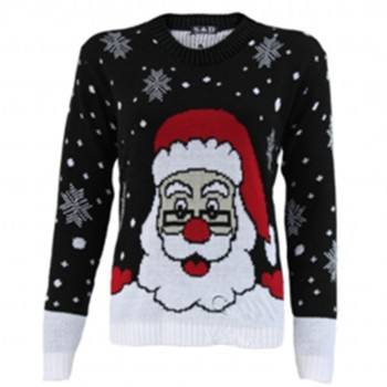 women Christmas Xmas Knitted Pattern Vintage Jumper Retro Sweater black C3105