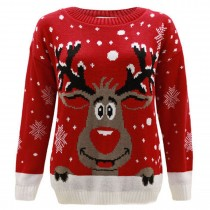 Mens Christmas Extra Thick Rudolph Jumper C3008 Red