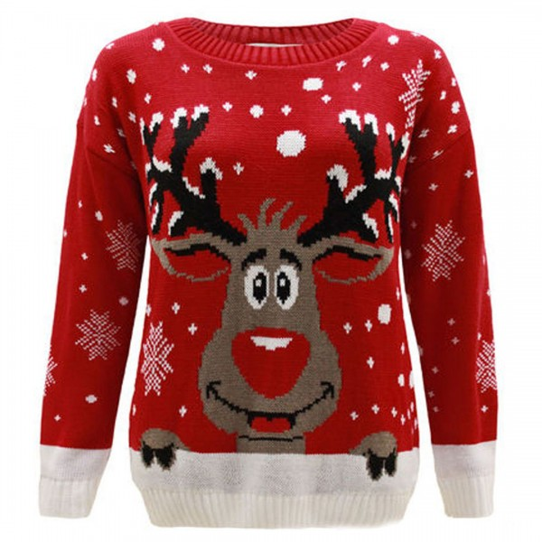 C3008 RD - Men Christmas Jumper With Elf Pattern Red