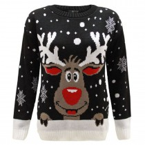KIDS Christmas Xmas Extra Thick Rudolph Jumper C3201 Black
