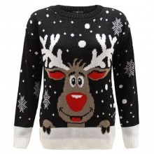 C3008 BK - Men Christmas Jumper With Elf Pattern Black