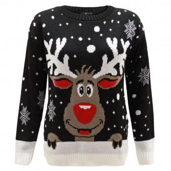 Mens Christmas Extra Thick Rudolph Jumper C3008 Black