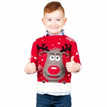 KIDS Christmas Xmas Extra Thick Rudolph Jumper C3201 Red