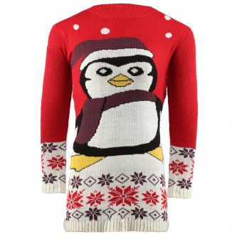 Mens Extra Thick Christmas penguin Jumper C3009 Red