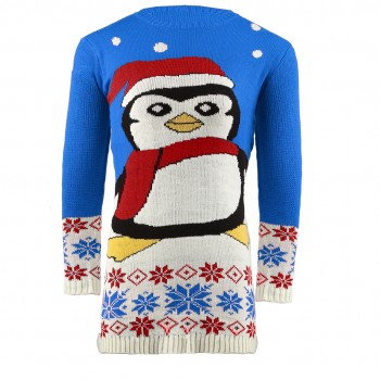 Mens Extra Thick Christmas penguin Jumper C3009 Blue