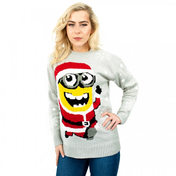 C3106 GY - women Christmas Xmas Knitted Pattern Vintage Jumper Retro Sweater gray