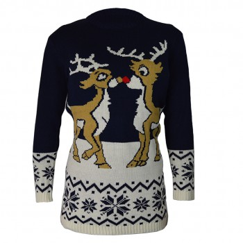 women Christmas Xmas Knitted Pattern Vintage Jumper Retro Sweater NAVY C3108