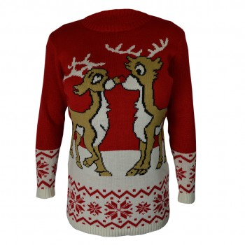 women Christmas Xmas Knitted Pattern Vintage Jumper Retro Sweater red C3108