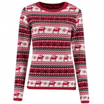 women Christmas Xmas Knitted Pattern Vintage Jumper Retro Sweater red C3109