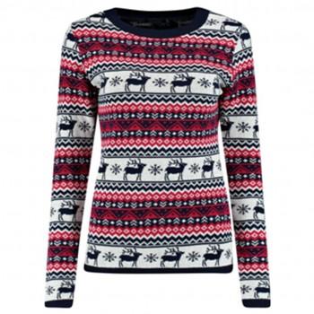 women Christmas Xmas Knitted Pattern Vintage Jumper Retro Sweater BLUE C3109
