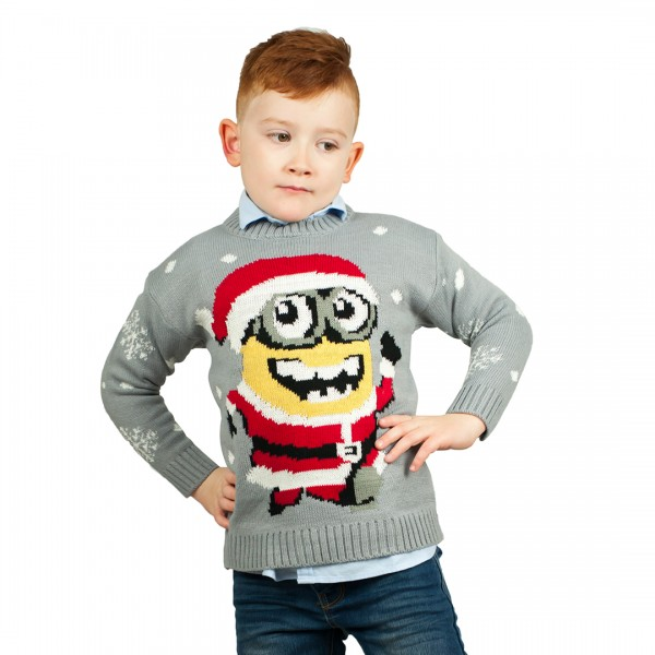 Kids Minion Extra Thick Christmas Jumper C3203 Grey