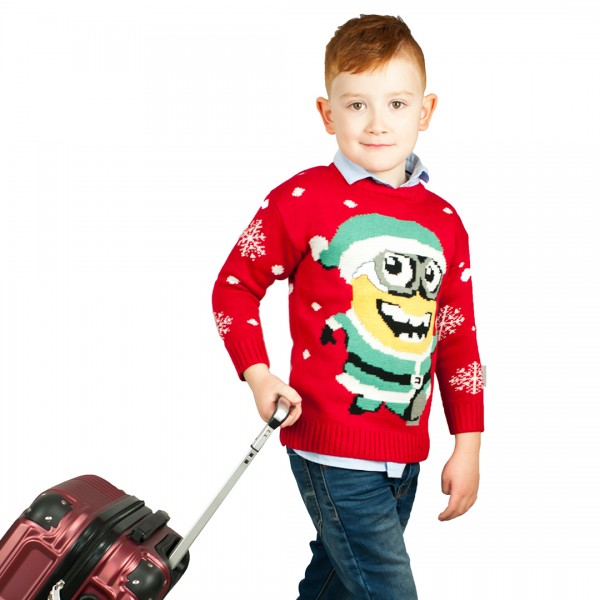 Kids Minion Extra Thick Christmas Jumper C3203 Red