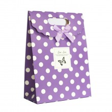 Paper Bag With Handles Wedding Birthday Christmas Gift Coloured Print Dots