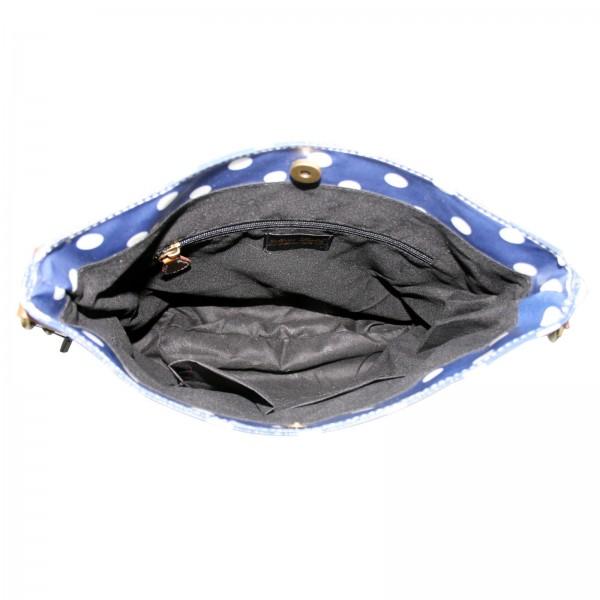 L1425D - Miss Lulu Oilcloth Square Bag Polka Dot Navy