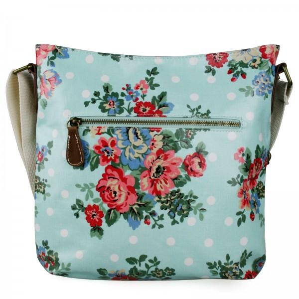 L1425F - Miss Lulu Oilcloth Square Bag Flower Polka Dot Light Blue