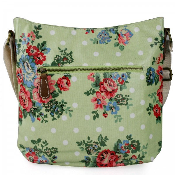 L1425F - Miss Lulu Oilcloth Square Bag Flower Polka Dot Green