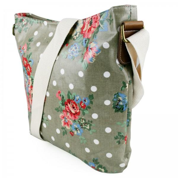 L1425F - Miss Lulu Oilcloth Square Bag Flower Polka Dot Grey