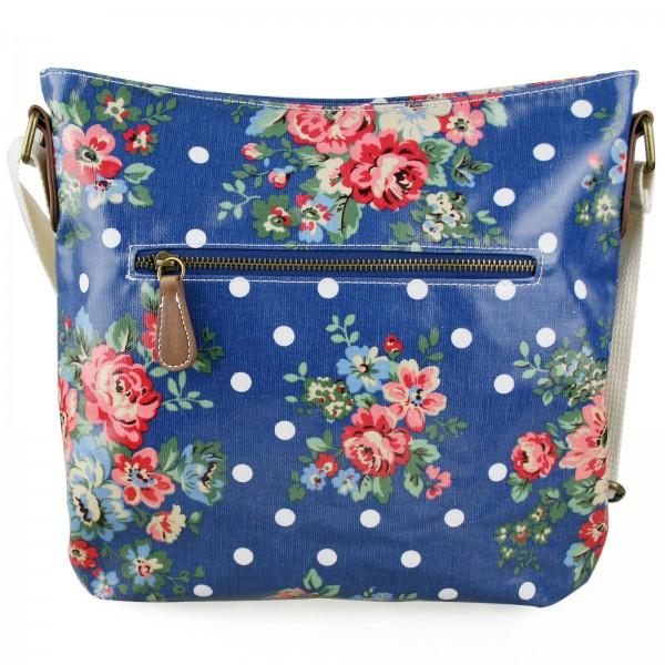 L1425F - Miss Lulu Oilcloth Square Bag Flower Polka Dot Navy