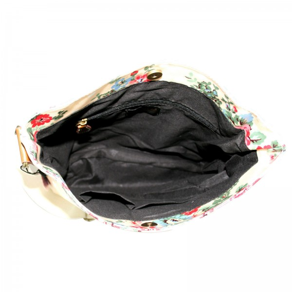 L1425F - Miss Lulu Oilcloth Square Bag Flower Polka Dot Pink