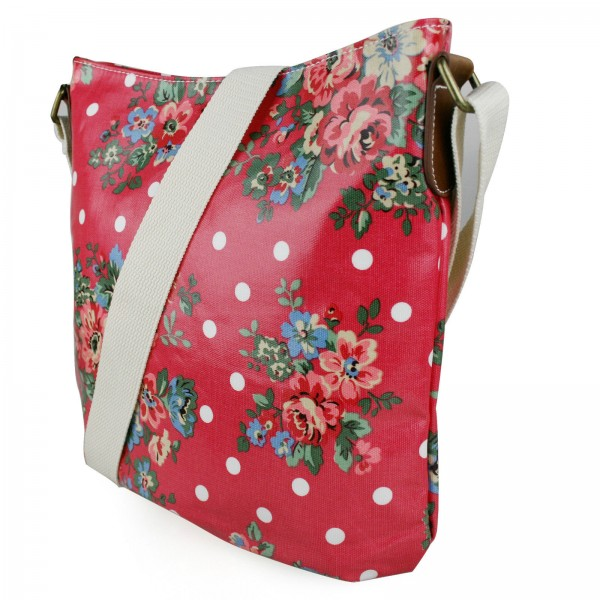 L1425F - Miss Lulu Oilcloth Square Bag Flower Polka Dot Red