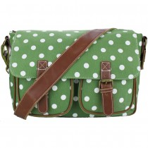 L1157D2 - Miss Lulu Canvas Satchel Polka Dot Green