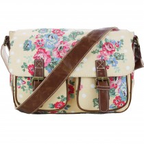 L1157F - Miss Lulu Canvas Satchel Flower Polka Dot Beige