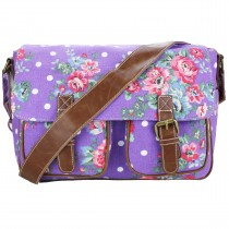 L1157F - Miss Lulu Canvas Satchel Flower Polka Dot Purple
