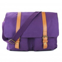 L1418 - Miss Lulu Unisex Canvas Messenger Bag Purple